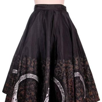 "Vintage Circle Skirt Black & Silver Inca? Whimsical Border Print 1950s 27"" Waist"