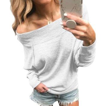 LASPERAL Sequin Vintage Streetwear Party Tops Women's Long Sleeve Off Shoulder Boat Neck T Shirt Casual Loose Tunic Tops