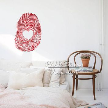 Fingerprint Heart Wall Sticker Modern Fingerprint Wall Decal DIY Easy Wall Art Heart Wall Sticker Cut Vinyl Sticker M21