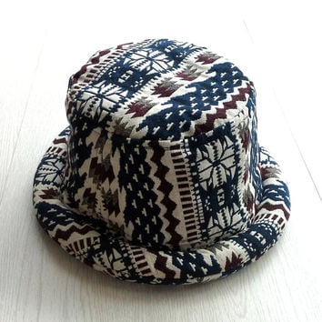 Hippie Bucket Hat for Men Women, Trendy Pork Pie Trilby hat, Handmade Tribal Aztec hat,  Unisex Hipster Boho hat, Summer Festival Hat