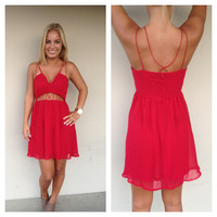 Red Chiffon Cut Out Mini Dress
