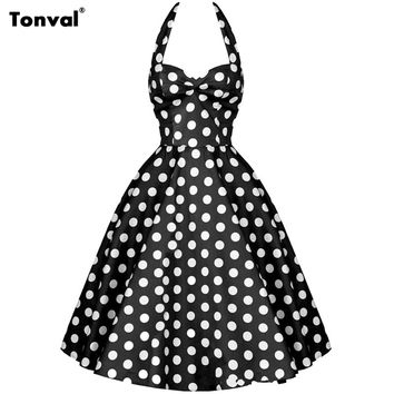 Tonval Women Vintage Polka Dot 50s Swing Dress 2016 Vestido Ladies Elegant Evening Party Halter Sexy Backless Rockabilly Dresses