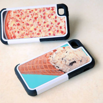 Two Matching Best Friends Hybrid Phone Cases - Custom Pizza + Ice Cream