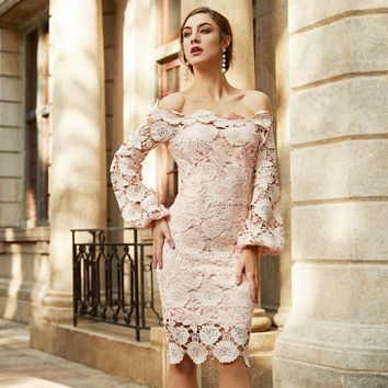 Elegant Dress Women Pink Embroidered Lace Overlay  Long Sleeve  Off The Shoulder