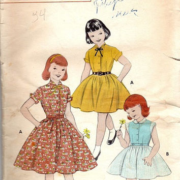 Butterick 7000 Sewing Pattern 1950s Girls Rockabilly Style Swing Tea Dress Full Circle Skirt Fitted Bodice Short Sleeve Size 8