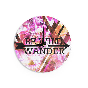 "Ebi Emporium ""Be Wild and Wander"" Pink Wall Clock"