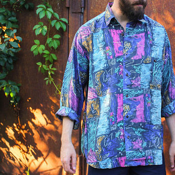 90's Silk Men's Shirt / Iconic Abstract Pure Silk Printed Collared Shirt: Long Sleeve, Muted Multicolour Print / Grunge, Rave, Size MEDIUM