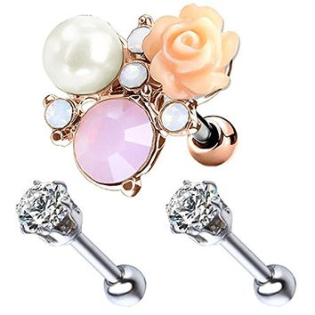BodyJ4You 3PCS Tragus Piercing Flower CZ Stud Earring Ball 16G Rose Goldtone Surgical Steel Helix Barbell