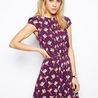 Polka Birds Purple Dress