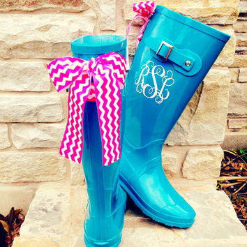 Teal Gloss Boot with Orange Bow and Monogram
