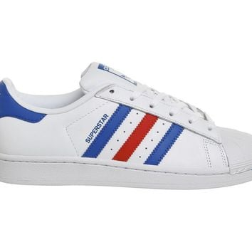 more photos fe003 225d3 Adidas Superstar 1 Trainers White Blue Red