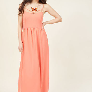 Envision the Mission Maxi Dress in Coral