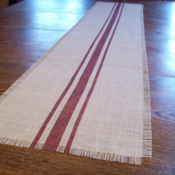As seen in Better Homes and Gardens Grill It Magazine...Burlap Table Runner with Hand Painted Grain Sack Stripes in Barn Red 10 x 48