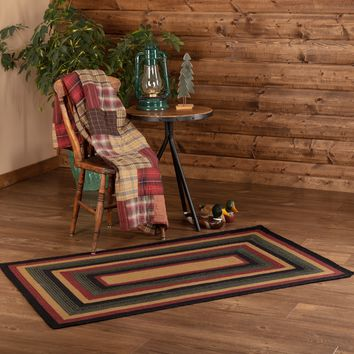 Lodge Rustic Black Red Green WYATT BRAIDED JUTE RUG Rectangle Area Rugs