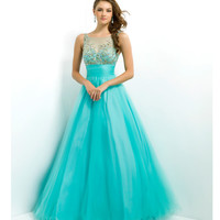 Pink by Blush 2014 Prom Dresses - Aqua & Gold Beaded Illusion Prom Gown - Unique Vintage - Prom dresses, retro dresses, retro swimsuits.