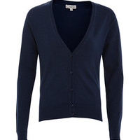 Navy Basic V Neck Cardigan