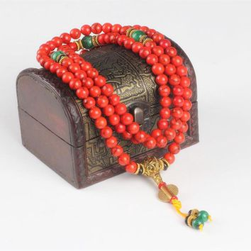 Ubeauty 108 Red Coral  bracelet natural stone beads mala necklace buddhist prayer rosary strand bracelets buddha Meditation