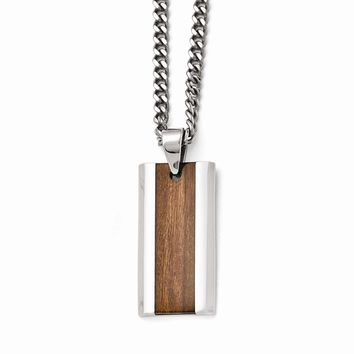 Men's Stainless Steel Polished Brown Wood Inlay Enameled Necklace