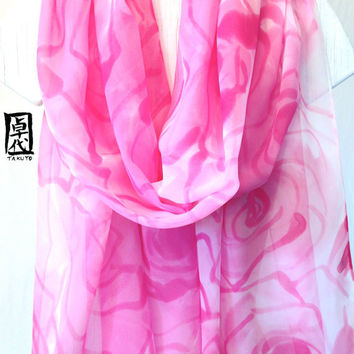 Handpainted Silk Shawl Pink Silk Scarf, Spring Roses. Pink Floral Scarf. Silk Chiffon Scarf. Approx 19x78- 20x84 in.