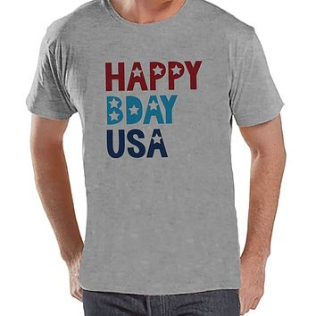 Custom Party Shop Men's Happy Bday USA 4th of July Grey T-shirt