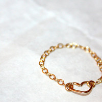 LITTLE LOVE RING / handmade wire-wrapped 14 karat gold chain ring  / ft. 14 karat gold / gifts under 25