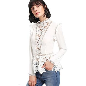 Stand Collar Long Sleeve Tiered Layer Slim Fit Blouse
