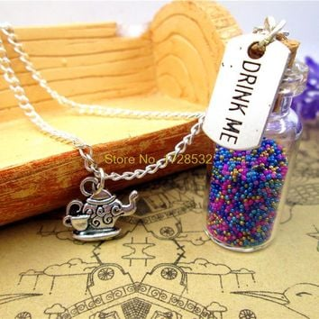 Drink Me necklace alice in wonderland teapot necklace 2ml glass bottle (inside:9 colors)