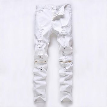 2016 new men's jeans zipper jeans knee knocked ragged hole male club denim fabric elastic jeans jeans