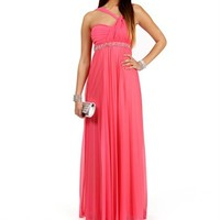 Seanna- True Salmon Pleated Prom Dress