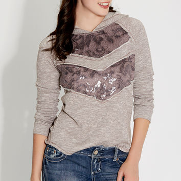 hooded pullover with lace and sequins