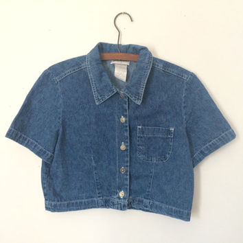 vintage 80s/90s denim button-up crop top