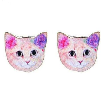 Cat / Kitty Face with Pink and Purple Flowers on Girls Post Earrings