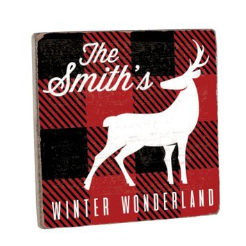 Personalized Buffalo Plaid Vintage Wood Sign with Deer - 12 x 12