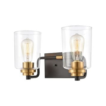 Robins 2-Light Vanity Light in Matte Black with Clear Glass
