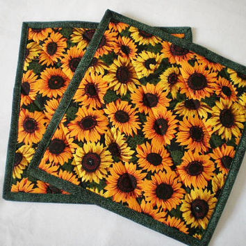 Yellow Sunflowers Trivet Pot Holder Hot Pad  Handcrafted Quilted Coaster