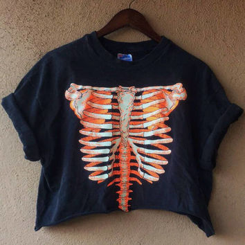 Glow In The Dark Ribcage Crop Tee