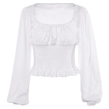 Think It Over White Long Sleeve Square Neck Smocked Peplum Blouse Top