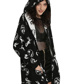 The Nightmare Before Christmas Jack & Zero Hooded Girls Flyaway Cardigan