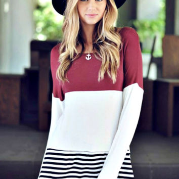 Burgundy Color Block Top