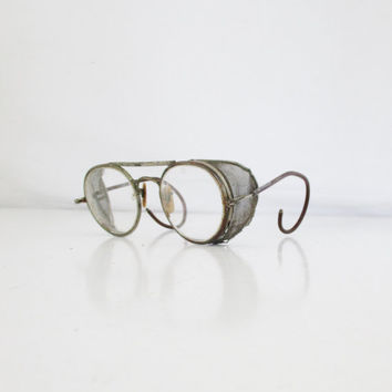 Steampunk Glasses Antique Wire Rimmed Round Spectacles Vintage Safety Goggles Steampunk Spectacles Vintage Eyeglasses Antique Safety Glasses
