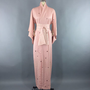 Vintage 1950s Silk Kimono Robe / 50s Wedding Dressing Gown Lingerie / Downton Abbey Art Deco / Pink Shibori Polka Dots