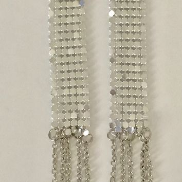 Long Shoulder Duster Silver Mesh Chain Earrings