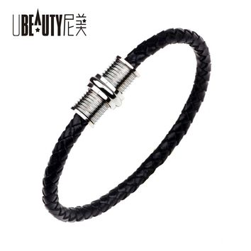 UBEAUTY Stainless Steel Thread Bracelet Magnet Buckle Bracelet Contracted Leather Punk Bracelets & Bangles For Men Jewelry