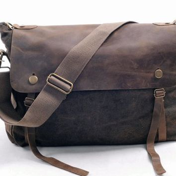 messenger bag /canvas bag/leather leisure bag/Washed canvas bag