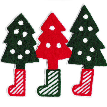 XXL Extra Large 19cm Chenille Christmas Trees Patch Applique
