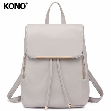 Casual Cream/Ivory Faux Leather Backpack