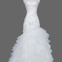 Layered Trumpet/Mermaid Court Train Organza Wedding Dress