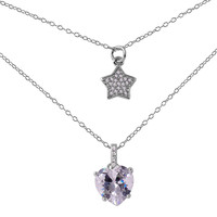 Sterling Silver Star Heart Cubic Zirconia Necklace