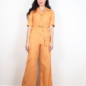 Vintage 1970s Jumpsuit Peachy Orange Corduroy Bell Bottom Jumpsuit 70s Hippie One Piece Pantsuit Wide Leg Romper Coveralls XS Extra Small