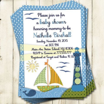 Nautical Baby shower printable invitation baby boy digital invite personalized boat invitation light house DIY birthday card blue green